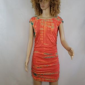 Bamboo/TieDye GYPSY 05 Ruched Mini Dress or Tunic